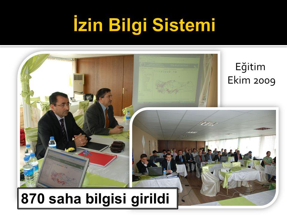 İzin Bilgi Sistemi Eğitim Ekim 2009 870 saha bilgisi girildi