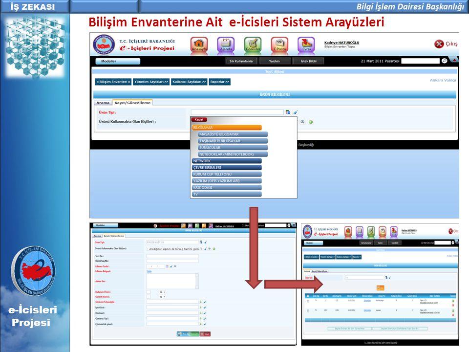 Bilişim Envanterine Ait e-İcisleri Sistem Arayüzleri