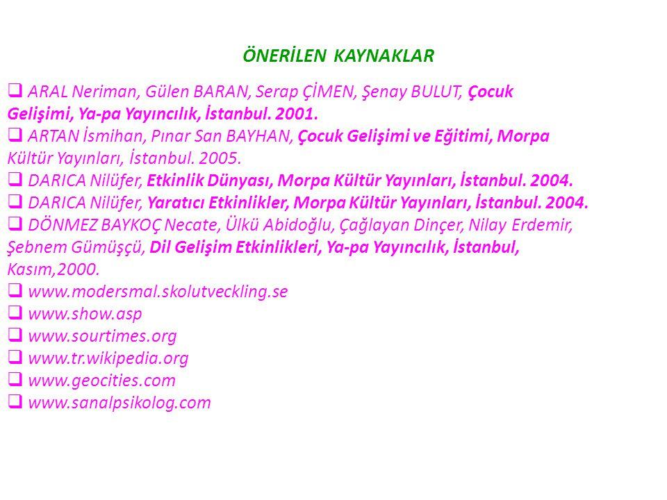 ÖNERİLEN KAYNAKLAR ARAL Neriman, Gülen BARAN, Serap ÇİMEN, Şenay BULUT, Çocuk. Gelişimi, Ya-pa Yayıncılık, İstanbul. 2001.
