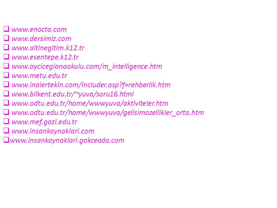 www.enocta.com www.dersimiz.com. www.altinegitim.k12.tr. www.esentepe.k12.tr. www.aycicegianaokulu.com/m_intelligence.htm.
