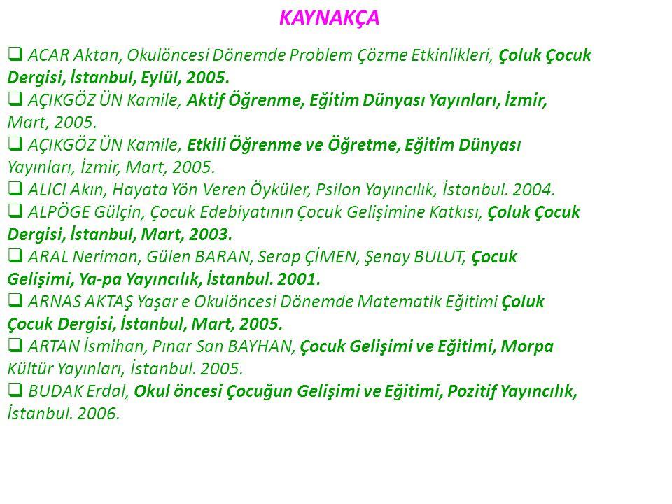 KAYNAKÇA ACAR Aktan, Okulöncesi Dönemde Problem Çözme Etkinlikleri, Çoluk Çocuk. Dergisi, İstanbul, Eylül, 2005.