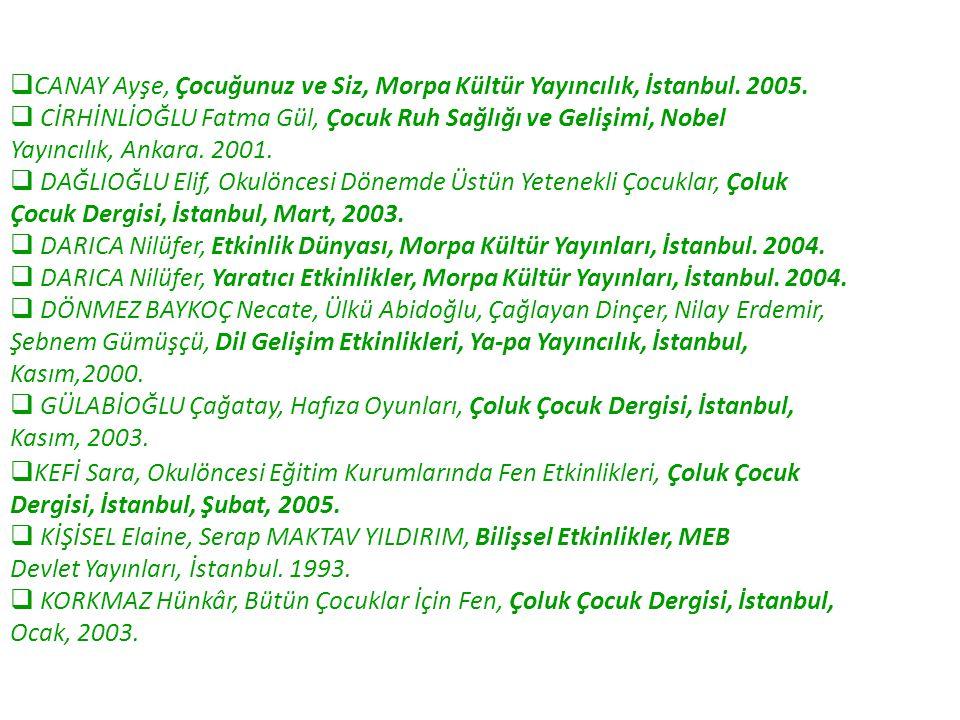 CANAY Ayşe, Çocuğunuz ve Siz, Morpa Kültür Yayıncılık, İstanbul. 2005.
