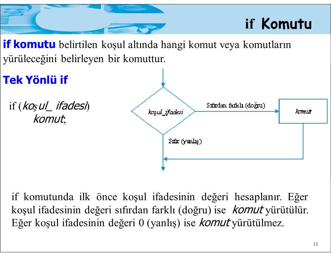 if komutu belirtilen koşul altında hangi komut veya komutların