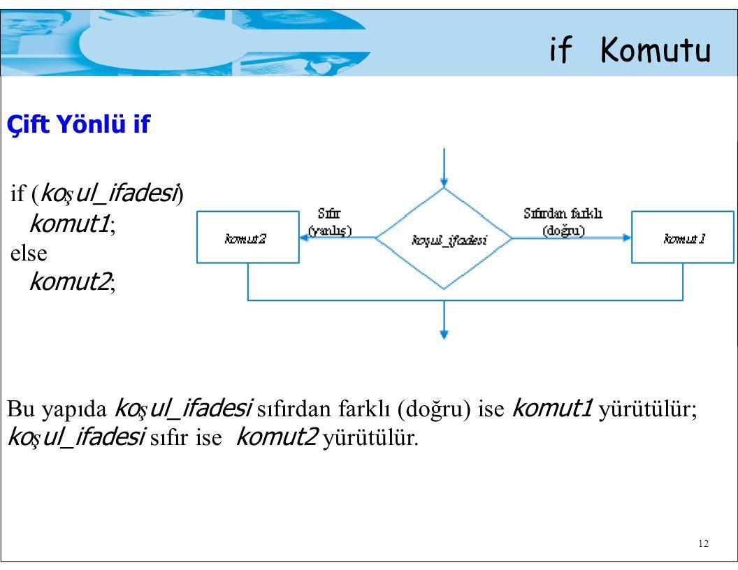 Bu yapıda koşul_ifadesi sıfırdan farklı (doğru) ise komut1 yürütülür;