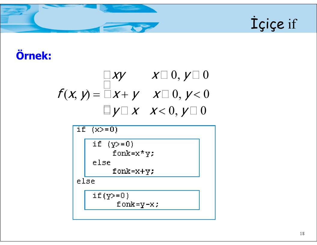  Örnek: İçiçe if xy x ≥ 0, y ≥ 0  f (x, y) = x + y x ≥ 0, y < 0