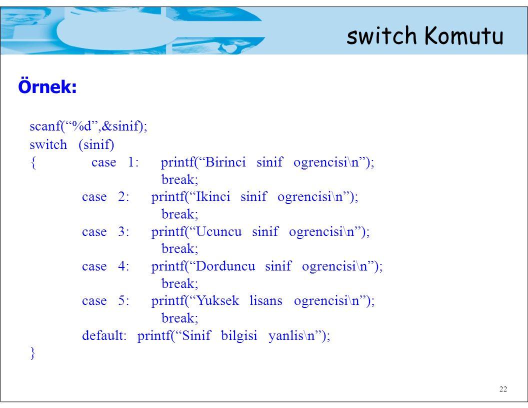 Örnek: switch Komutu scanf( %d ,&sinif); switch (sinif)