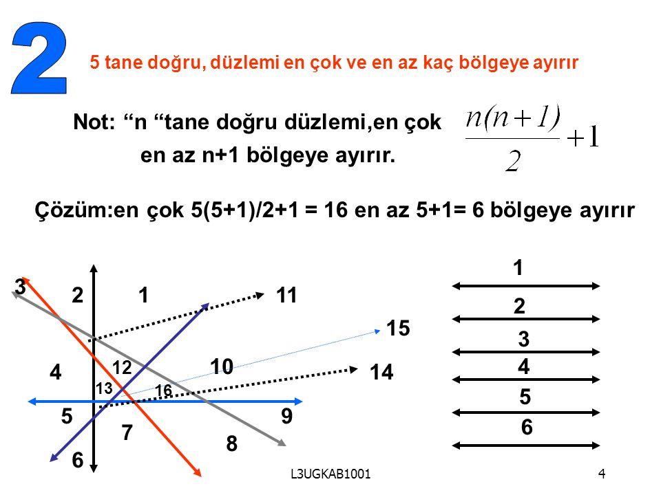 2 Not: n tane doğru düzlemi,en çok en az n+1 bölgeye ayırır.