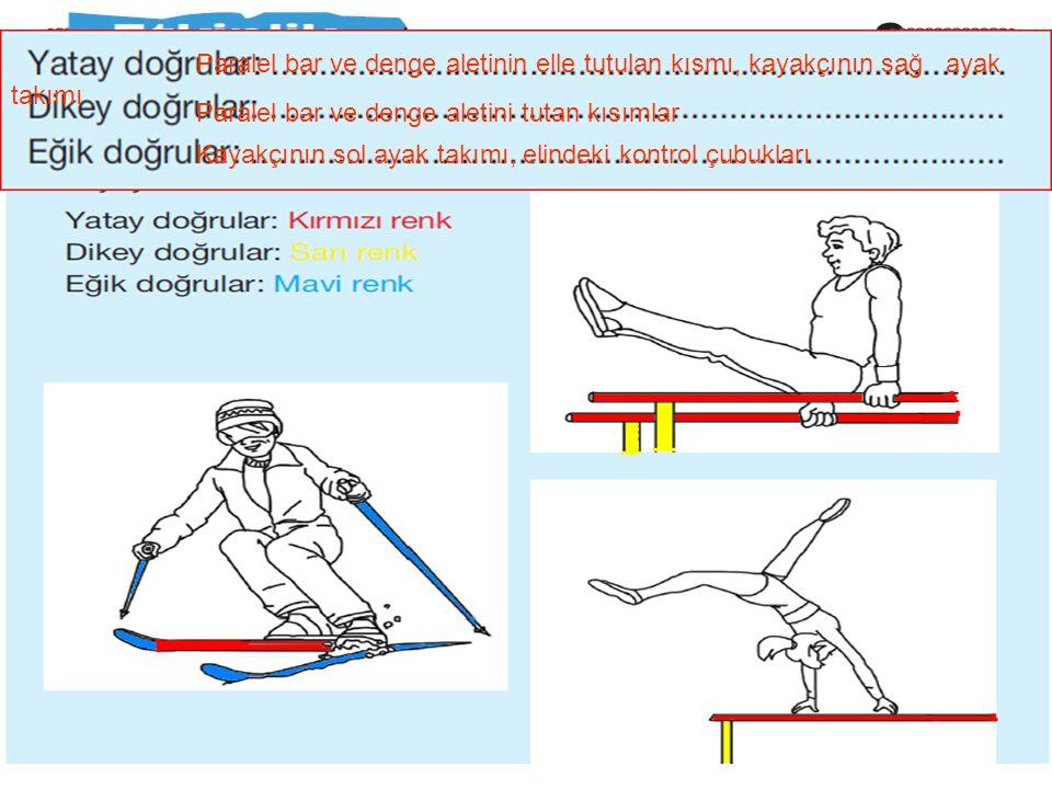 Paralel bar ve denge aletinin elle tutulan kısmı, kayakçının sağ ayak takımı
