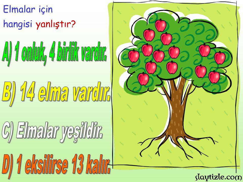 A) 1 onluk, 4 birlik vardır. B) 14 elma vardır. C) Elmalar yeşildir.