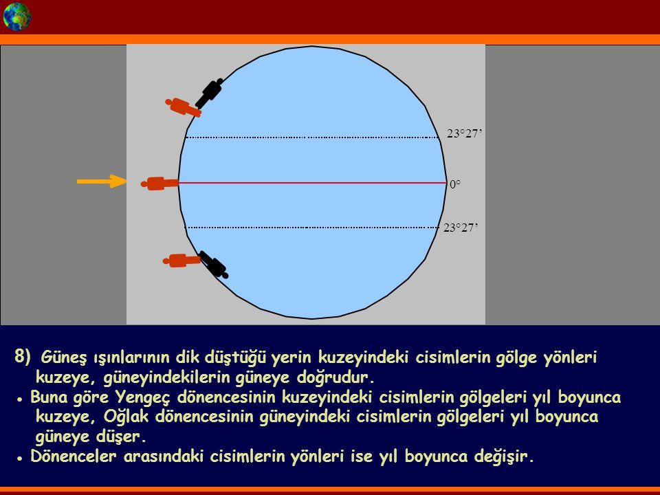   2. 3. ° 2. 7. '  ° 2. 3. ° 2. 7. '   8) Güneş ışınlarının dik düştüğü yerin kuzeyindeki cisimlerin gölge yönleri.