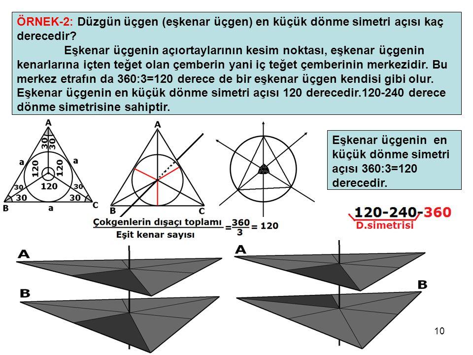 ÖRNEK-2: Düzgün üçgen (eşkenar üçgen) en küçük dönme simetri açısı kaç derecedir