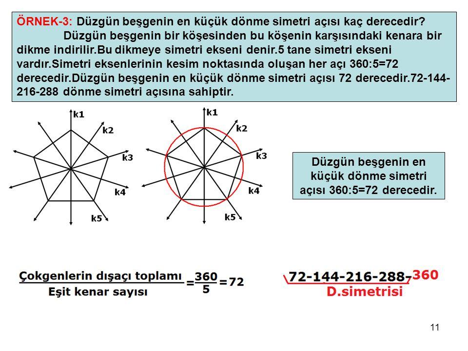 Düzgün beşgenin en küçük dönme simetri açısı 360:5=72 derecedir.