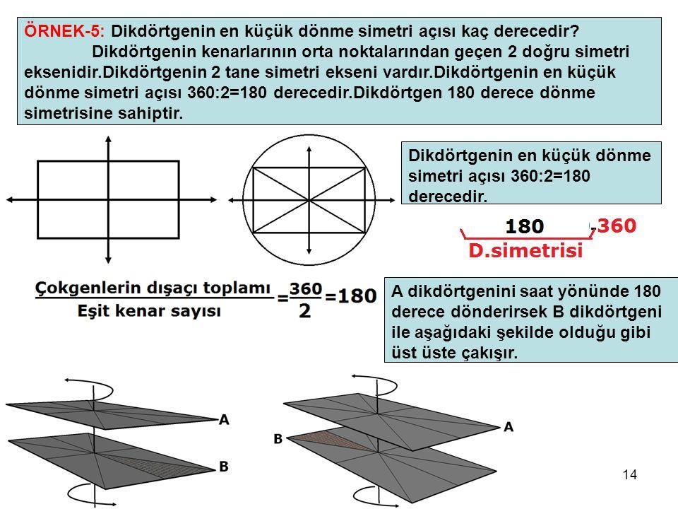 ÖRNEK-5: Dikdörtgenin en küçük dönme simetri açısı kaç derecedir