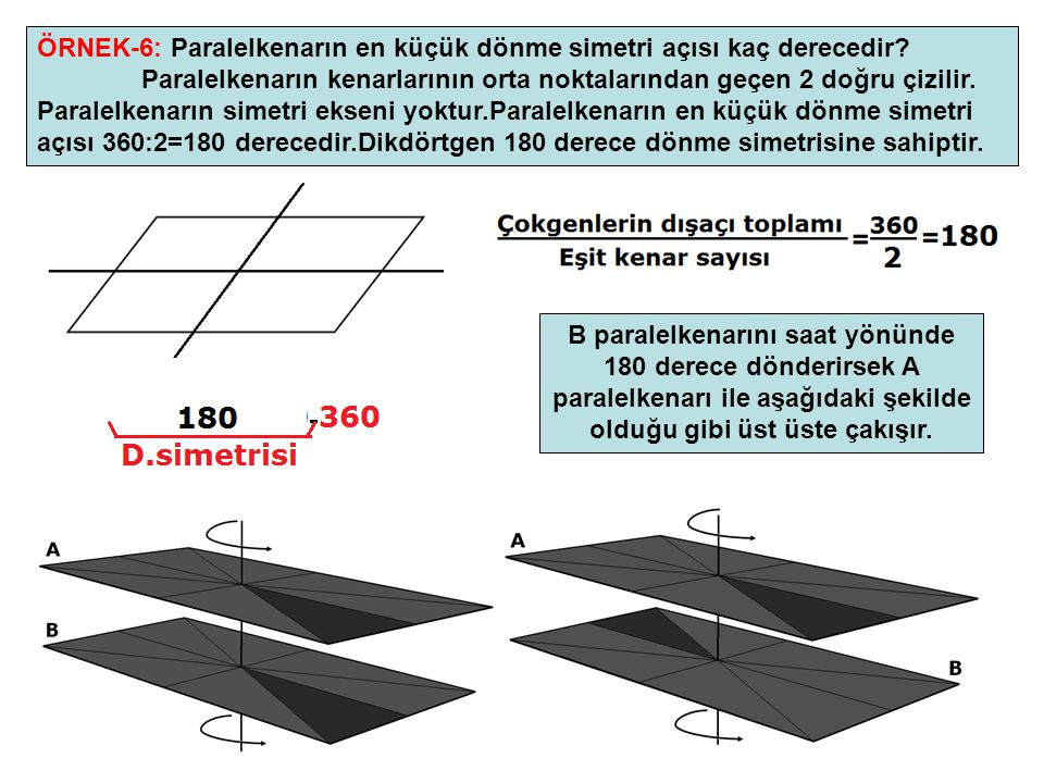 ÖRNEK-6: Paralelkenarın en küçük dönme simetri açısı kaç derecedir