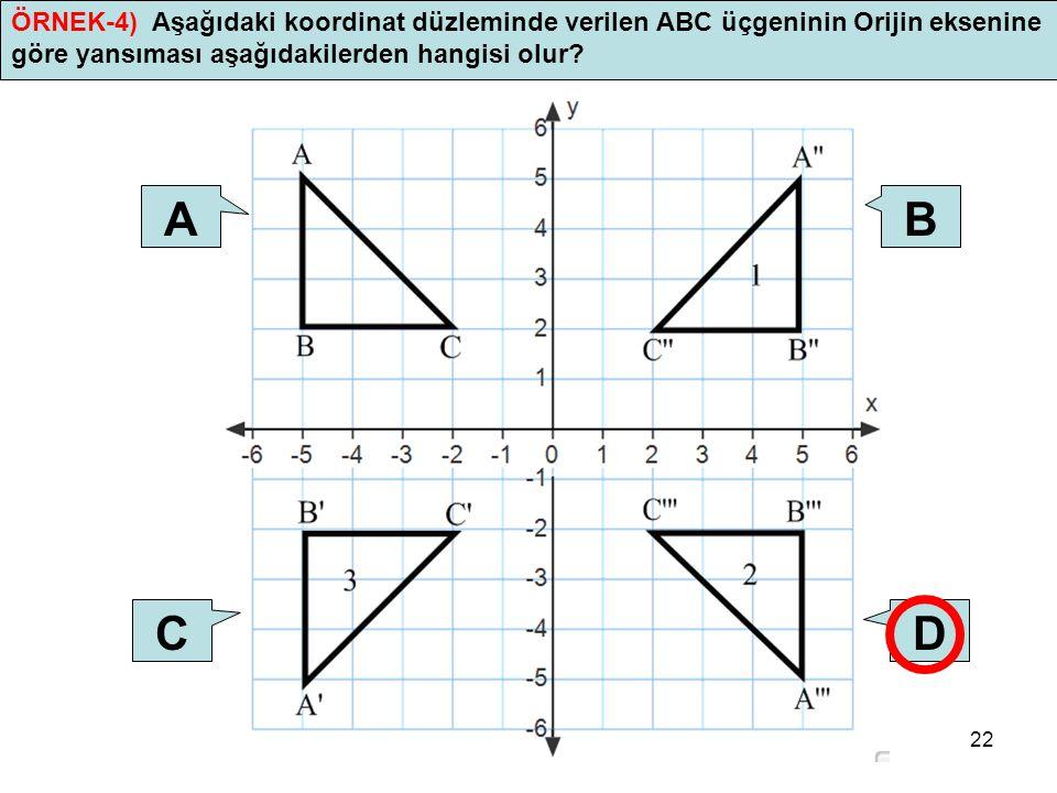 ÖRNEK-4) Aşağıdaki koordinat düzleminde verilen ABC üçgeninin Orijin eksenine göre yansıması aşağıdakilerden hangisi olur