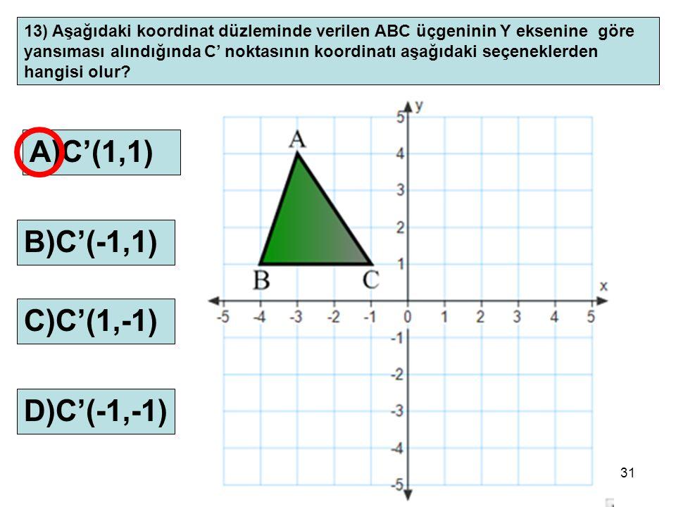 A)C'(1,1) B)C'(-1,1) C)C'(1,-1) D)C'(-1,-1)