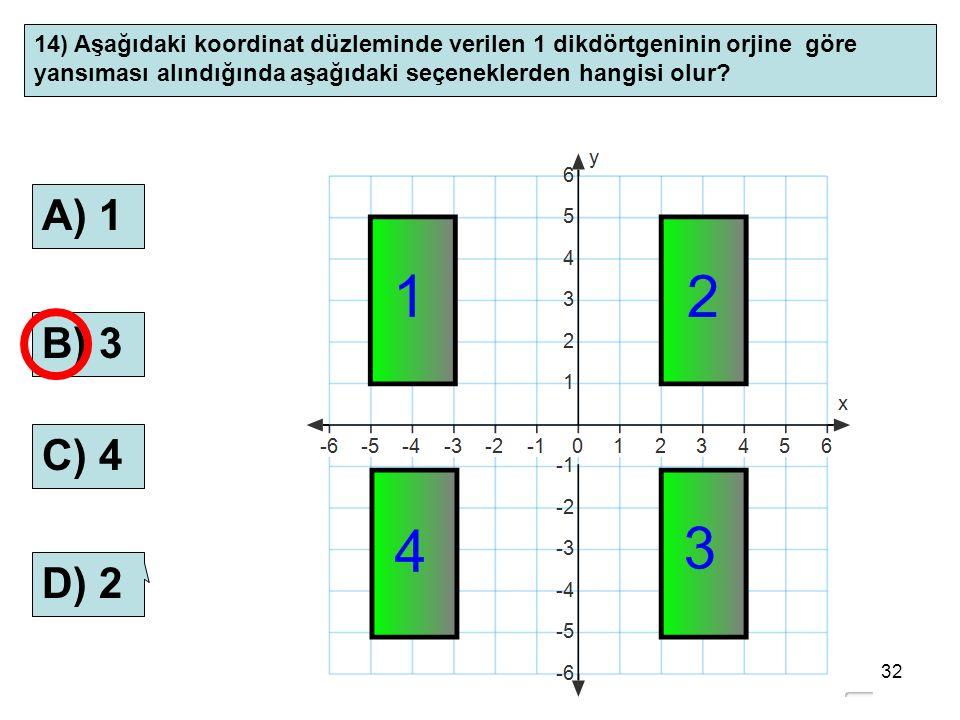 14) Aşağıdaki koordinat düzleminde verilen 1 dikdörtgeninin orjine göre yansıması alındığında aşağıdaki seçeneklerden hangisi olur