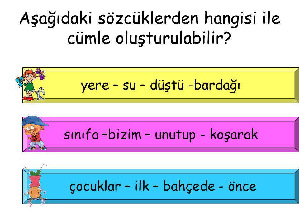 Aşağıdaki sözcüklerden hangisi ile cümle oluşturulabilir