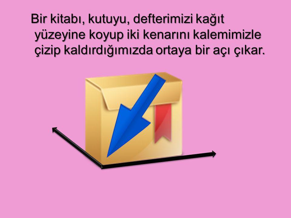 Bir kitabı, kutuyu, defterimizi kağıt yüzeyine koyup iki kenarını kalemimizle çizip kaldırdığımızda ortaya bir açı çıkar.