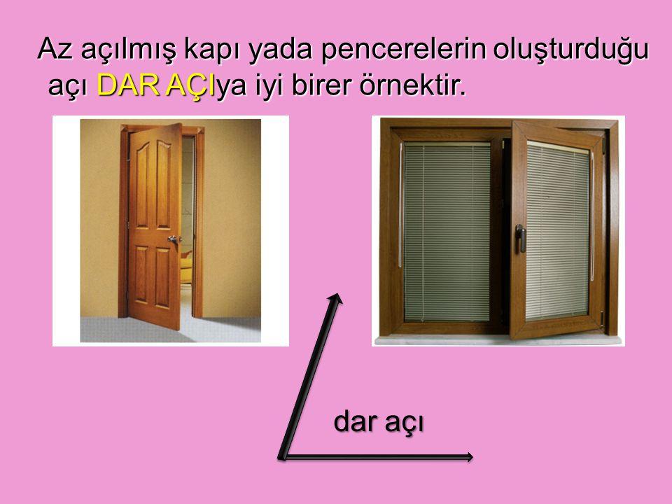 Az açılmış kapı yada pencerelerin oluşturduğu açı DAR AÇIya iyi birer örnektir.