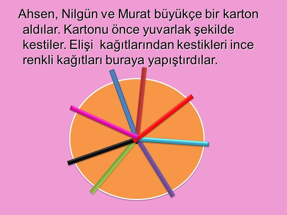 Ahsen, Nilgün ve Murat büyükçe bir karton aldılar