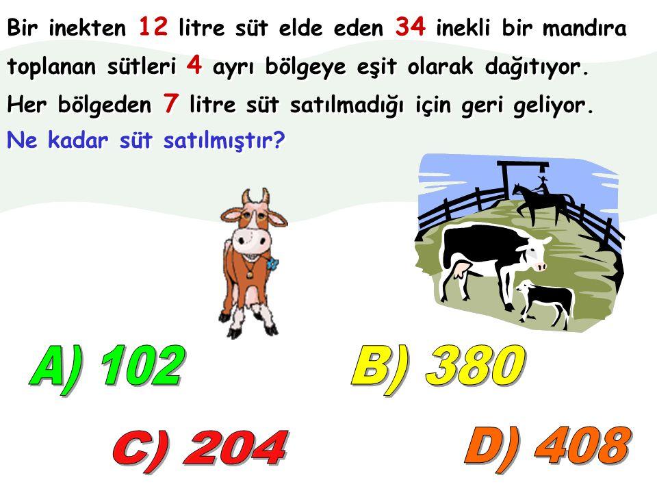 Bir inekten 12 litre süt elde eden 34 inekli bir mandıra toplanan sütleri 4 ayrı bölgeye eşit olarak dağıtıyor.