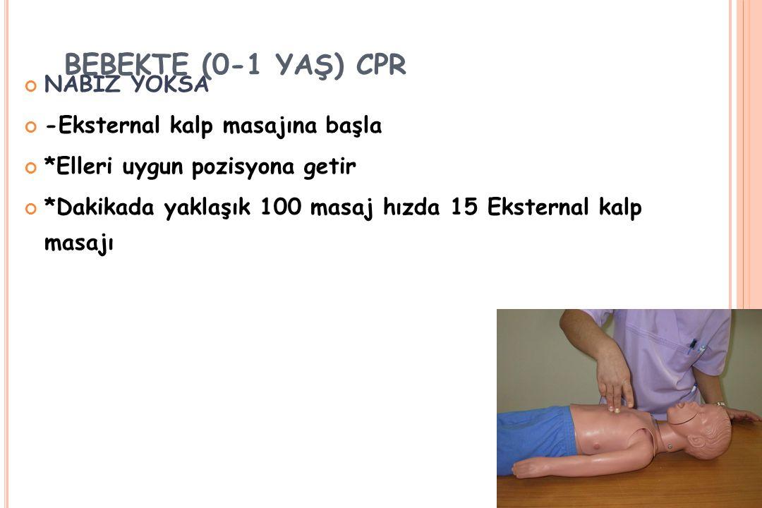 BEBEKTE (0-1 YAŞ) CPR NABIZ YOKSA -Eksternal kalp masajına başla
