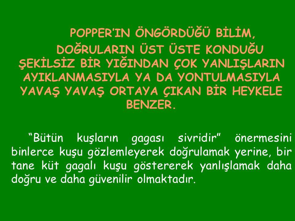 POPPER'IN ÖNGÖRDÜĞÜ BİLİM,