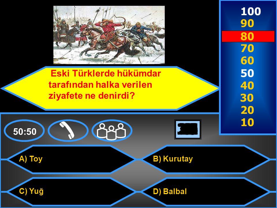 100 90. 80. 70. 60. 50. Eski Türklerde hükümdar tarafından halka verilen ziyafete ne denirdi 40.