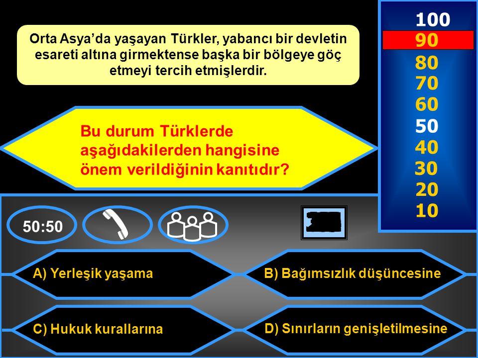 100 Orta Asya'da yaşayan Türkler, yabancı bir devletin esareti altına girmektense başka bir bölgeye göç etmeyi tercih etmişlerdir.