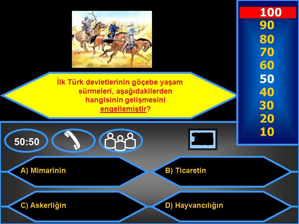 100 90. 80. 70. 60. 50. İlk Türk devletlerinin göçebe yaşam sürmeleri, aşağıdakilerden hangisinin gelişmesini engellemiştir