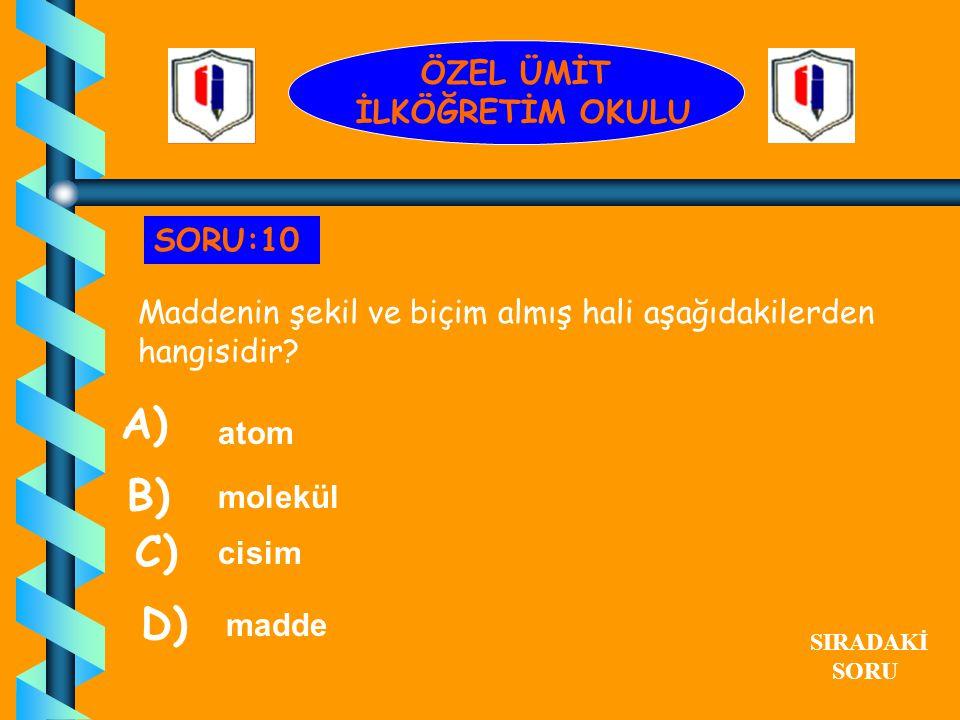 A) B) C) D) ÖZEL ÜMİT İLKÖĞRETİM OKULU SORU:10