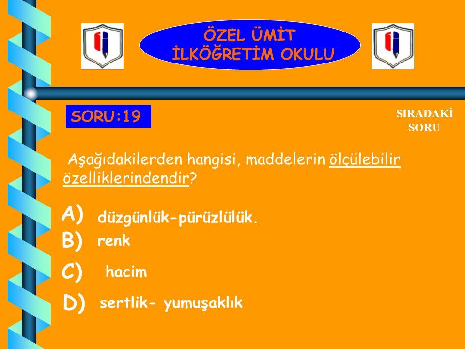 A) B) C) D) ÖZEL ÜMİT İLKÖĞRETİM OKULU SORU:19