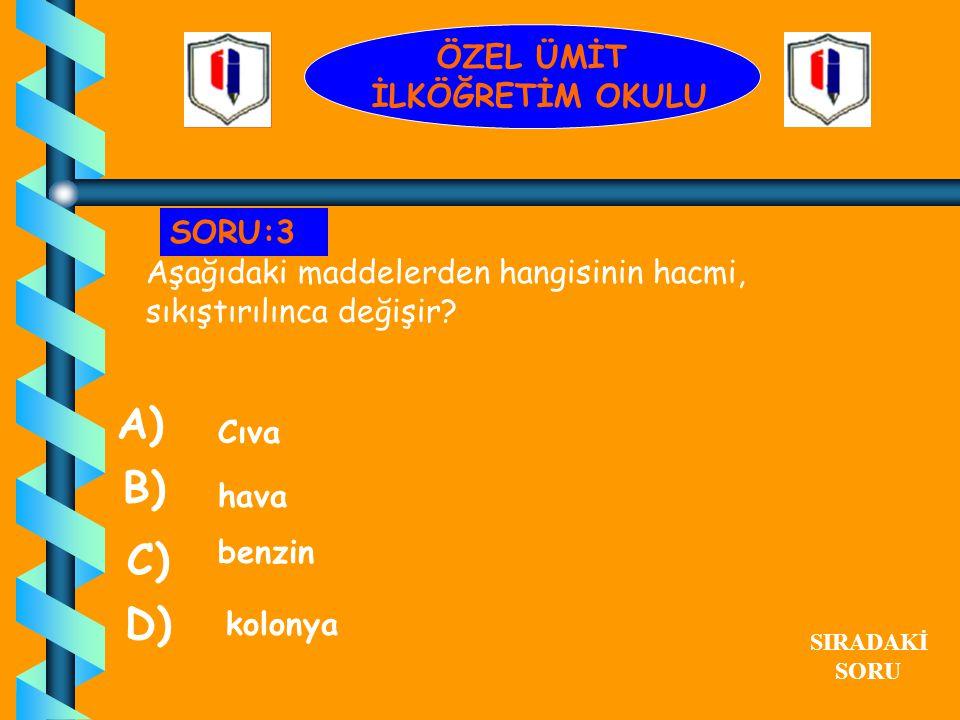 A) B) C) D) ÖZEL ÜMİT İLKÖĞRETİM OKULU SORU:3