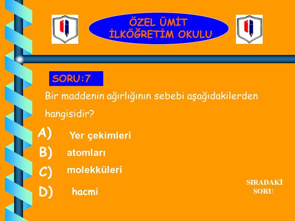A) B) C) D) ÖZEL ÜMİT İLKÖĞRETİM OKULU SORU:7