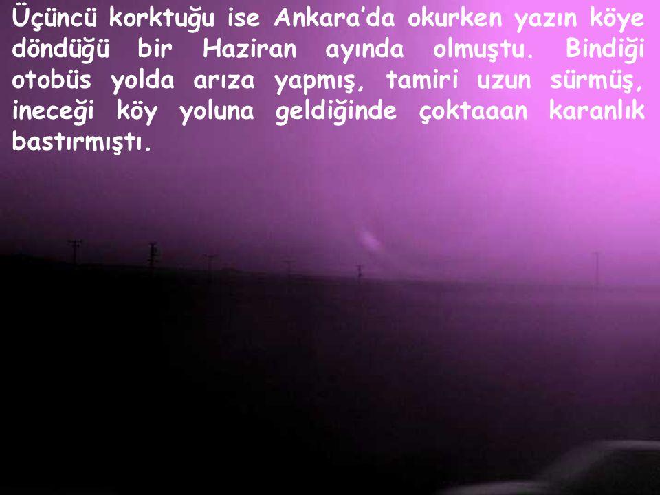 Üçüncü korktuğu ise Ankara'da okurken yazın köye döndüğü bir Haziran ayında olmuştu.