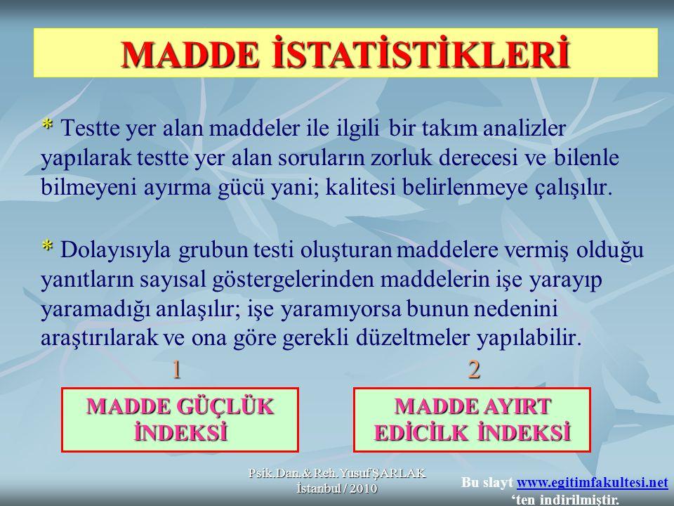 MADDE İSTATİSTİKLERİ