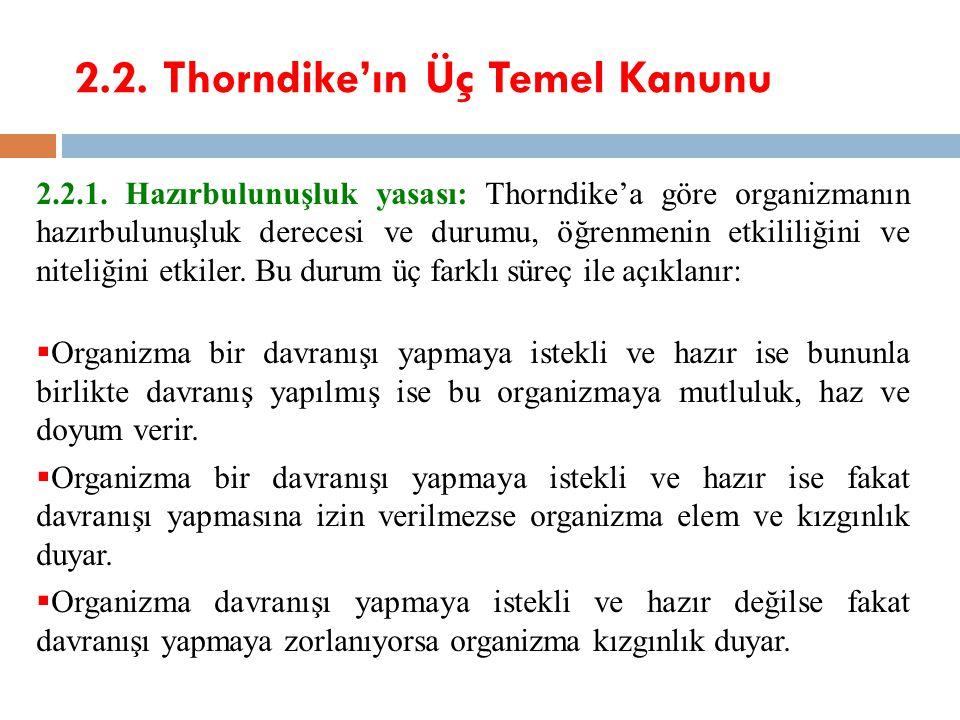 2.2. Thorndike'ın Üç Temel Kanunu