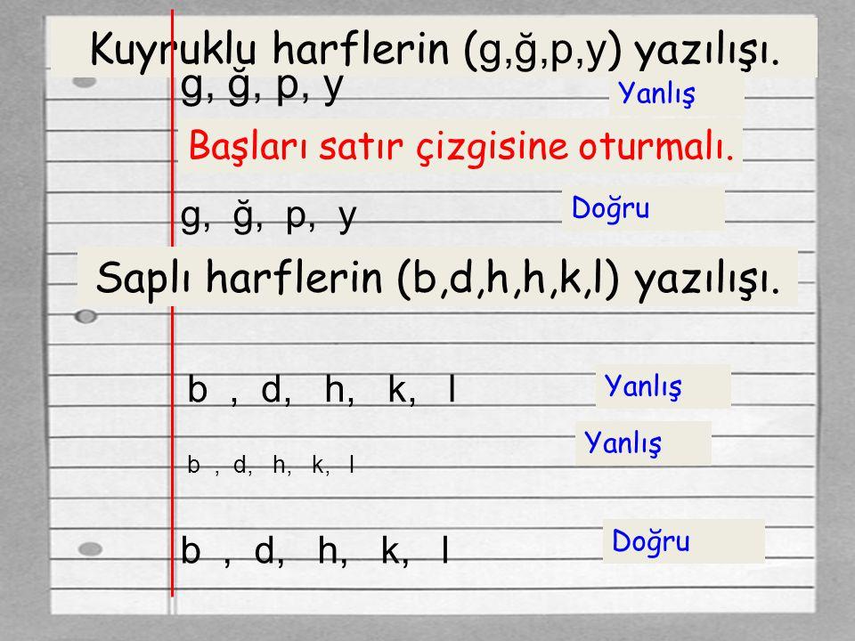 Kuyruklu harflerin (g,ğ,p,y) yazılışı. g, ğ, p, y