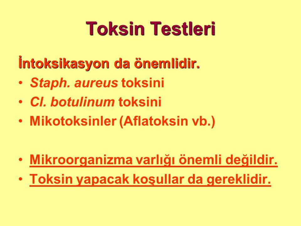 Toksin Testleri İntoksikasyon da önemlidir. Staph. aureus toksini