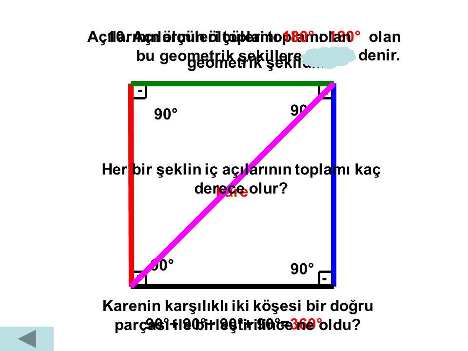 Açılarının ölçüleri toplamı 180° olan bu geometrik şekillere