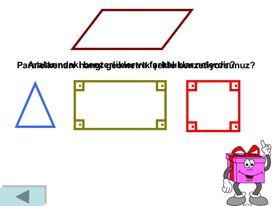 Paralelkenarı hangi geometrik şekle benzetiyorsunuz