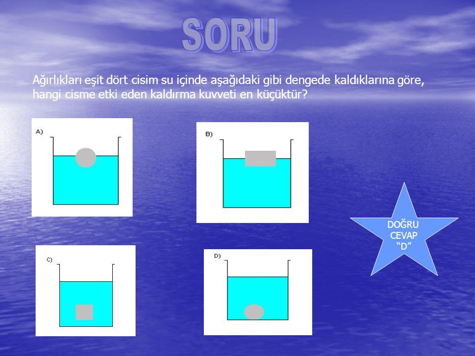 SORU Ağırlıkları eşit dört cisim su içinde aşağıdaki gibi dengede kaldıklarına göre, hangi cisme etki eden kaldırma kuvveti en küçüktür