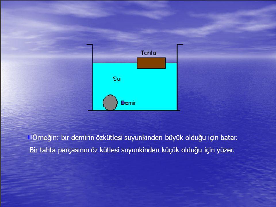 Örneğin: bir demirin özkütlesi suyunkinden büyük olduğu için batar.