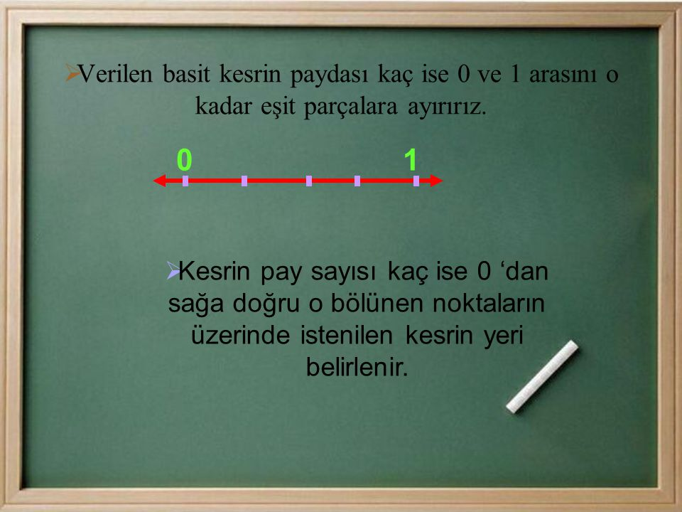 Verilen basit kesrin paydası kaç ise 0 ve 1 arasını o kadar eşit parçalara ayırırız.