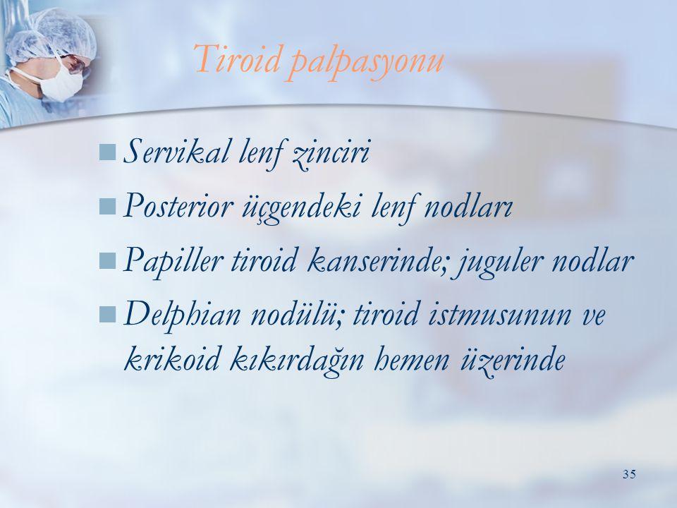 Tiroid palpasyonu Servikal lenf zinciri
