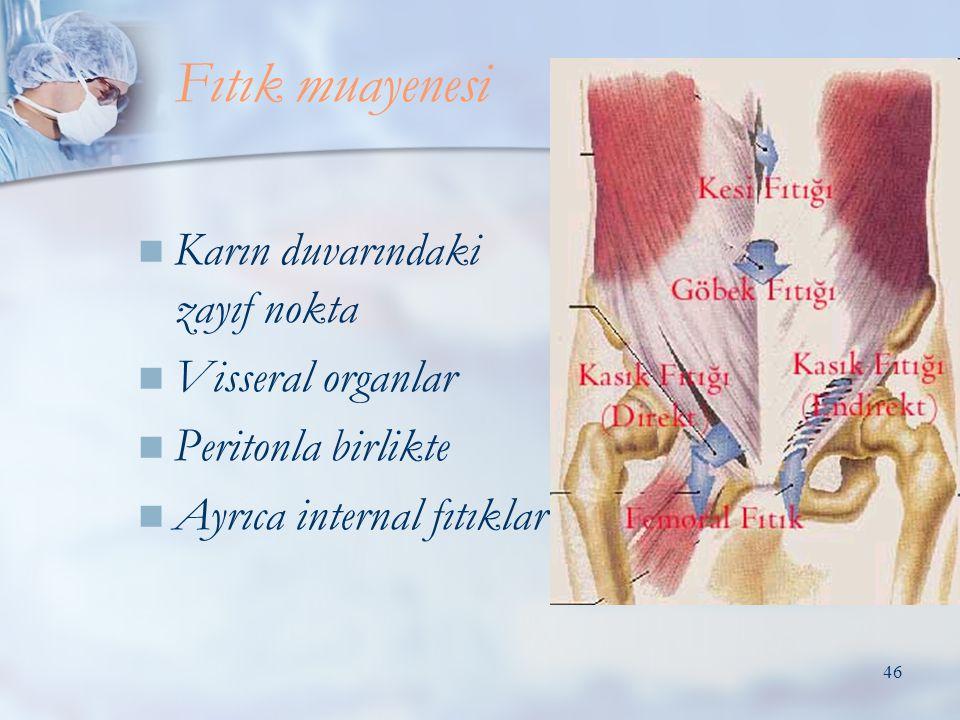 Fıtık muayenesi Karın duvarındaki zayıf nokta Visseral organlar