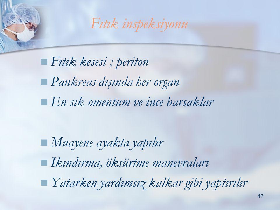 Fıtık inspeksiyonu Fıtık kesesi ; periton Pankreas dışında her organ