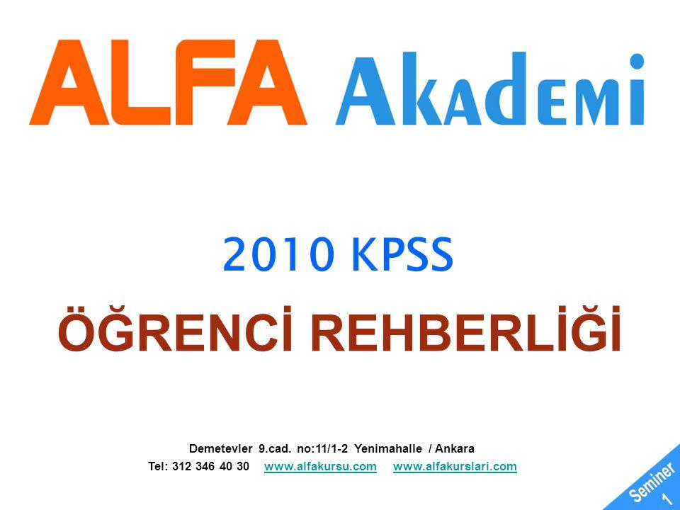 ÖĞRENCİ REHBERLİĞİ 2010 KPSS Seminer 1