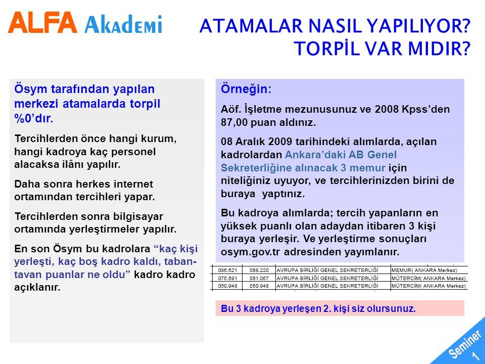 Seminer 1 ATAMALAR NASIL YAPILIYOR TORPİL VAR MIDIR